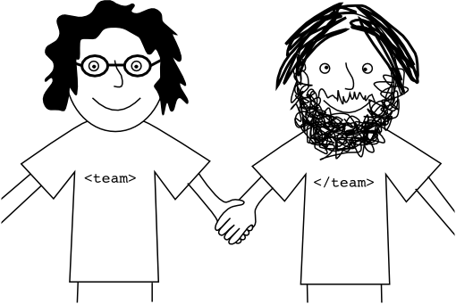 A crude drawing of Omer with his wild dark hair and me and my flat hair and curly beard holding hands as a team.